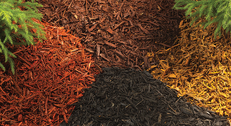 Different colored mulches